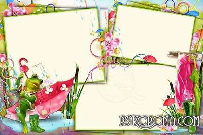 Childs photo frame for Photoshop - Funny Frog  (PSD + 6 PNG)