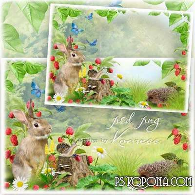 Children summer photo framework - In the woods for raspberries