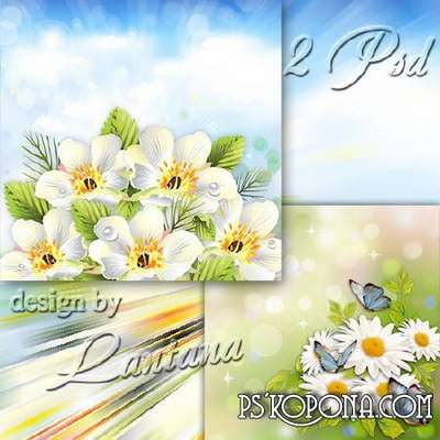 Multilayer backgrounds for Photoshop - Shining white flowers