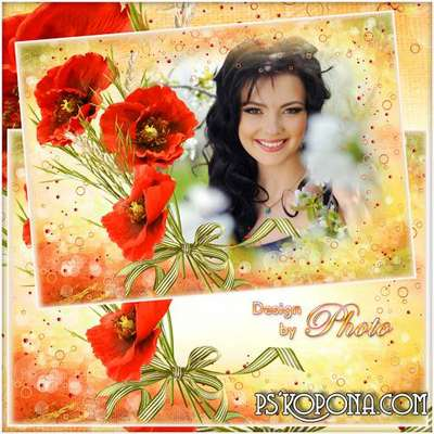 Flower frame for photo with bright poppies