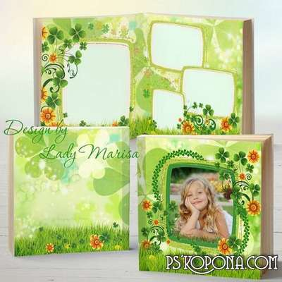 Photobook template psd - Sunny flowers and happy clover