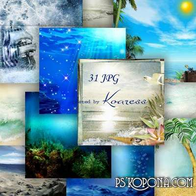 Set of jpg backgrounds for design - The splash of sea waves