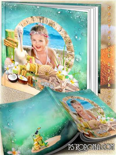 Family summer photo album template psd - Our holiday by the sea