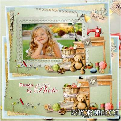 Children PSD photo frame for girls (free frame psd)