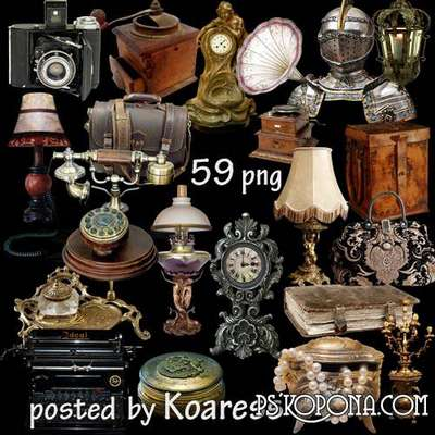 png images Cameras, lamps, lights, gramophone, candlesticks and other old and vintage items in png format for design