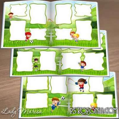 Photo album template psd for baby pictures - I play football