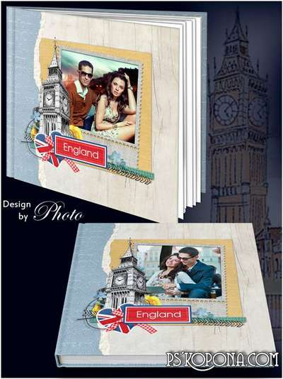 Photo Book template psd - A journey into the heart of England