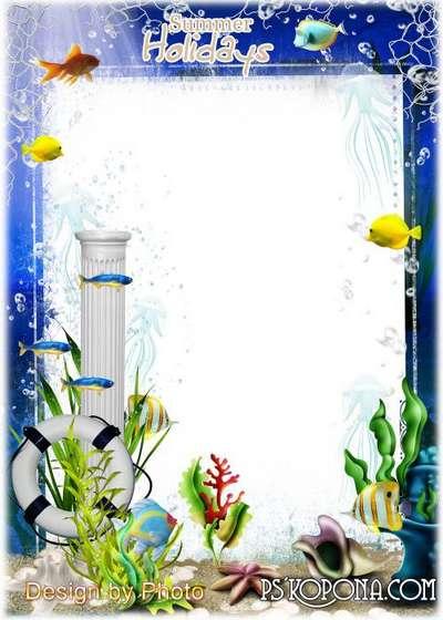 Children photo frame on the marine theme - underwater world ...