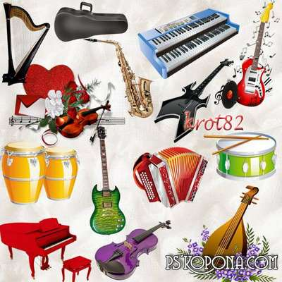 Music Graphics and clusters - Piano, guitar, balalaika, guitar