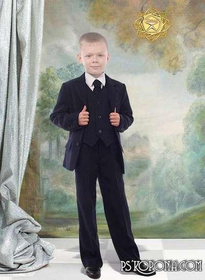 Children's template for photoshop - School Suit