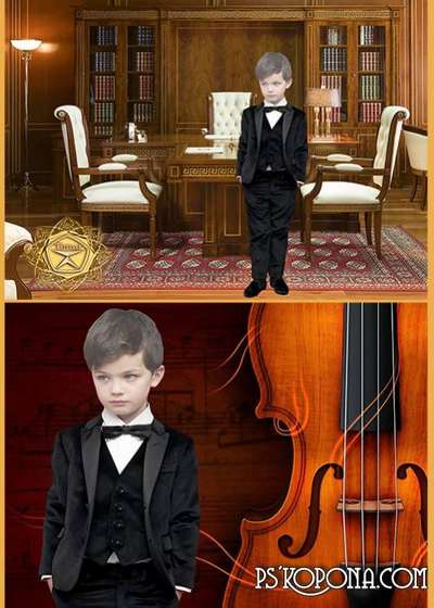Children templates for Photoshop - Children's tuxedo