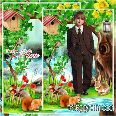 Childrens frame-a collage for photo - In the fairy forest