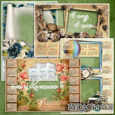 Set of png calendar framworks - Charming vintage (part 2)