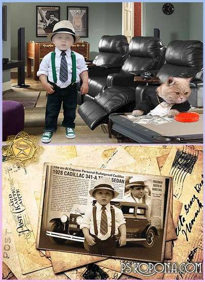Children's template for photoshop - Little gangsters
