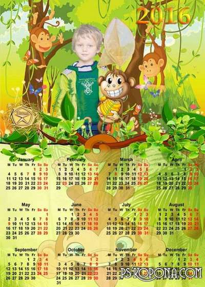 Children Calendar for 2016 year to adventures in the jungle