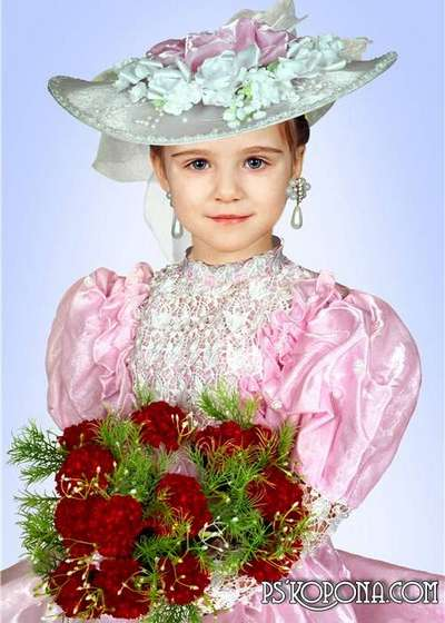 Template for Photoshop girls - fancy dress and hat