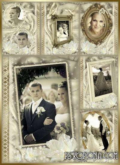 Frame for Photoshop - wedding album template - Old Gold 1.