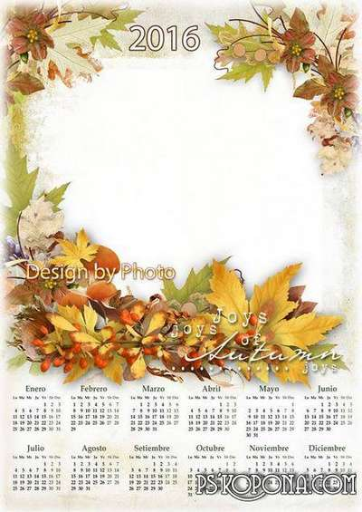 Autumn multi-layered PSD calendar with photo frame (2016) - autumn leaves