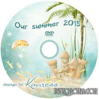 PSD cover DVD disk + photo frame for summer photos and videos