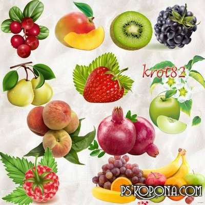 FREE PNG clipart fruit and berry - strawberries, apricots, mango, pomegranates, raspberry