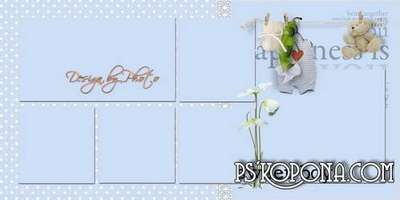 Photobook template psd for a new baby boy - I was born