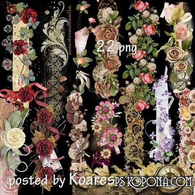 Vintage Flowers Borders Png For Design In Romantic Style
