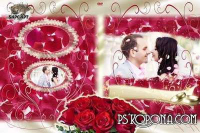Wedding DVD cover templates for Photoshop with rose petals