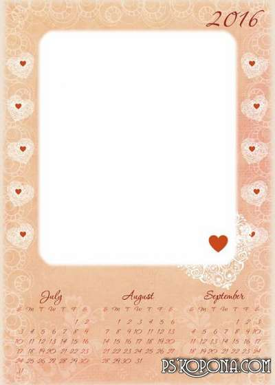 Multi-layered PSD calendar 2016 with vintage flowers and hearts in high resolution. Download from Google cloud.