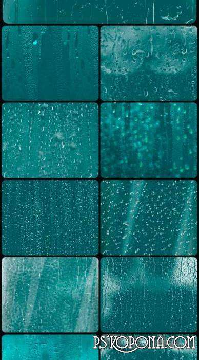 Free Source for design in Photoshop - different drops of water (rain) on the glass