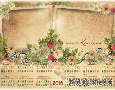 Calendar photo frame (PSD) with flowers in romantic style for 2016.