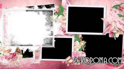 Romantic photo book template psd (mini photo album template) for photo lovers.