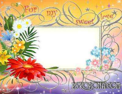 Free womens frame for photo with flowers and stars (layered psd)