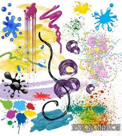 Clipart - Paint: spray, brush strokes