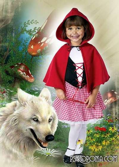 Child`s template for photo of the montage - Little Red Riding Hood