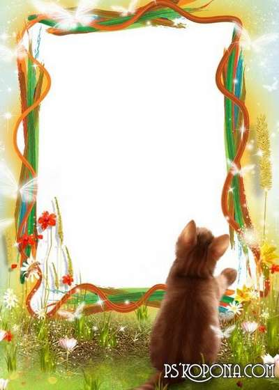Child`s photo frame – Kitten and butterfly