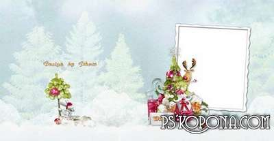Christmas photobook template psd for kids - Santa Claus has sent us a Christmas tree