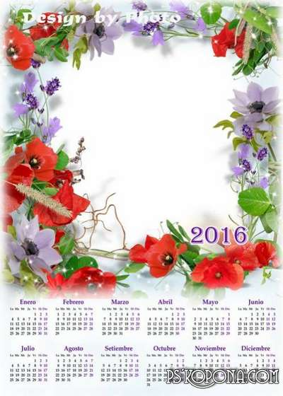 PSD Calendar 2016 with beautiful flowers - poppies, and the option to insert your photo