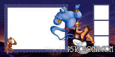 Baby photobook template psd with heroes of cartoon Aladdin