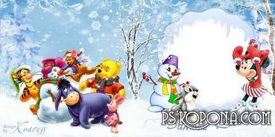 Children photobook template psd for winter photos - Winter holidays with Disney cartoon characters