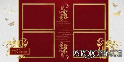 Romantic photobook template psd for Photoshop with gold ornament - Love story