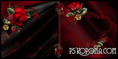 Photobook template psd with red roses - Magical scent of flowers