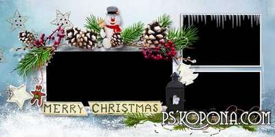 Christmas photo book template psd - waiting for Santa Claus