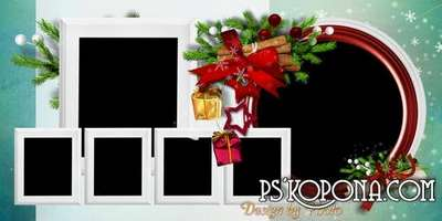 Christmas photo book template psd - Starry night magic