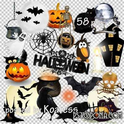 PNG clipart Halloween ghosts, cats, skeletons, crows and pumpkins on transparent background