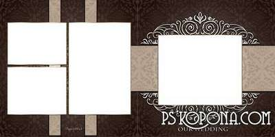 Universal classic photo book template psd in brown