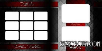 Template classic photo book template psd and DVD set-Red and Black