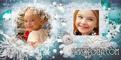 Winter photo book template psd - Blue Dreams