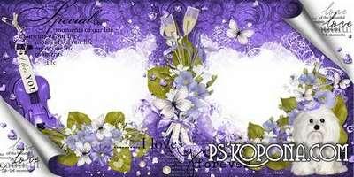 Elegant wedding photo book template psd in violet tones-Our purple wedding