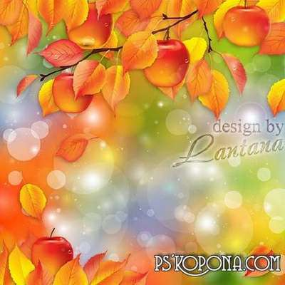 Layered PSD source for creating photo collage in Photoshop - bright colors of autumn