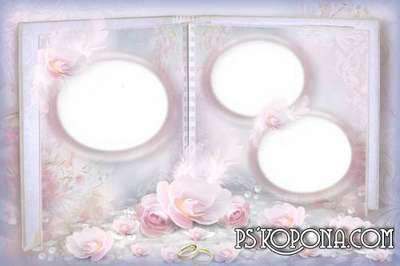 Frame for Photoshop - wedding album template - Pastel Pink